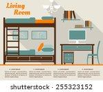 living room modern interior... | Shutterstock .eps vector #255323152