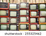 pile of old red retro tv | Shutterstock . vector #255325462