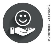 smile and hand sign icon. palm...