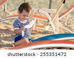 toddler dressed as a sailor... | Shutterstock . vector #255351472