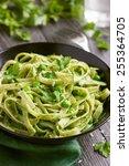 tagliatelle pasta with spinach... | Shutterstock . vector #255364705