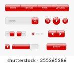 set of red web elements design. ...