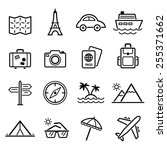 travel symbols and tourism... | Shutterstock .eps vector #255371662