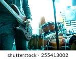a rock musician playing bass in ... | Shutterstock . vector #255413002