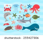 vector set of cute sea animals. ... | Shutterstock .eps vector #255427306