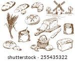 Bread Set. Pen Sketch Converte...