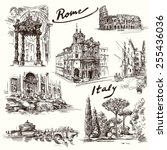 rome   hand drawn collection | Shutterstock .eps vector #255436036