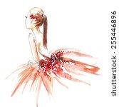 Watercolor Ballerina In Red ...