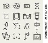 photo icons. set of 16 symbols... | Shutterstock .eps vector #255464188