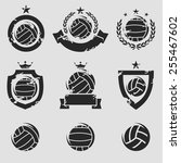 water polo labels and icons set.... | Shutterstock .eps vector #255467602