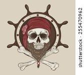 illustration of pirate skull... | Shutterstock .eps vector #255470962