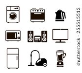 household appliances icons with ... | Shutterstock . vector #255515512