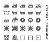 set of washing symbols. laundry ... | Shutterstock . vector #255515515