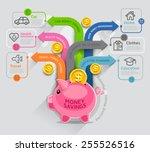 personal money saving planning... | Shutterstock .eps vector #255526516