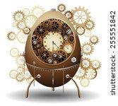 steampunk easter egg  | Shutterstock .eps vector #255551842