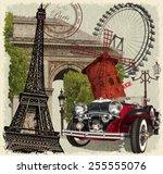 paris vintage poster. | Shutterstock .eps vector #255555076