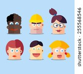 heads of cartoon characters | Shutterstock .eps vector #255568546