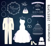 wedding dresse and groom suit... | Shutterstock .eps vector #255571978
