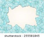 frame of contour flower heads...   Shutterstock .eps vector #255581845