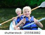 active happy twin brothers ... | Shutterstock . vector #255583882