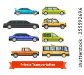 private transportation. set of... | Shutterstock .eps vector #255592696