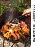 meat on barbecue  variety of... | Shutterstock . vector #255599302