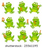 Happy green frogs holding letters, whole alphabet in my portfolio. - stock vector