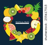 fruits design over white... | Shutterstock .eps vector #255617515
