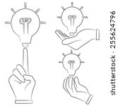 hand holding light bulb  sketch ... | Shutterstock .eps vector #255624796