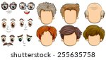 many faces of men | Shutterstock .eps vector #255635758