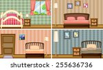 four different bedrooms | Shutterstock .eps vector #255636736