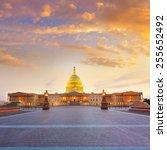 Stock photo capitol building washington dc sunset at us congress usa 255652492