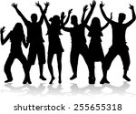 dancing people silhouettes | Shutterstock .eps vector #255655318