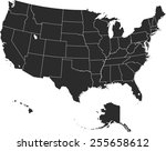 detailed vector map of the usa | Shutterstock .eps vector #255658612