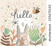 stunning card with cute rabbit  ... | Shutterstock .eps vector #255670132