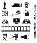 movie set of black icons on... | Shutterstock .eps vector #255672652