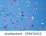 many colored petals on a sky... | Shutterstock . vector #255676312