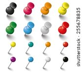 colored pins an tacks on the... | Shutterstock .eps vector #255678835