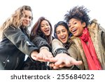 group of attractive young women ... | Shutterstock . vector #255684022