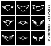 vector black shield icon set on ... | Shutterstock .eps vector #255692596