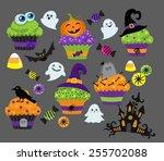 set of colorful halloween... | Shutterstock .eps vector #255702088