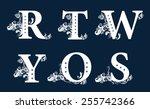 vintage floral alphabet set.... | Shutterstock .eps vector #255742366