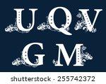 vintage floral alphabet set.... | Shutterstock .eps vector #255742372