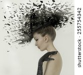 Spring Woman Fantasy Fashion Portrait. Fall. Beautiful Girl. Fashion Art Border Design. Hairstyle decorated with birds.