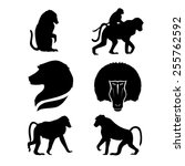 monkey set of silhouettes vector | Shutterstock .eps vector #255762592