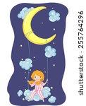 illustration of a girl in... | Shutterstock .eps vector #255764296