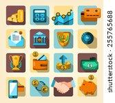 bank collection  finance set ... | Shutterstock .eps vector #255765688