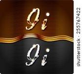 golden stylish italic letters... | Shutterstock .eps vector #255767422