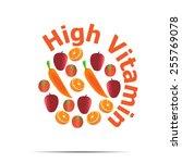 fruit high vitamin vector... | Shutterstock .eps vector #255769078