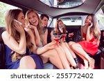 happy friends drinking... | Shutterstock . vector #255772402